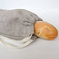 Handmade Natural Linen Bread Bag for Baguette, 7x20 Inch, Reusable Eco Friendly Packaging, Kitchen Food Storage, Organic…