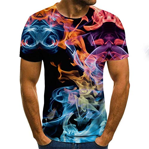 LKFTH 3DT Shirts Fire Flame T Shirt Men Women Summer Casual Colorful Fire Tops Hip Hop Streetwear Black Smog Personality L Black Colorful