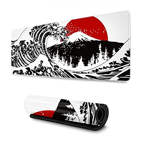 Black and White Japanese Kanagawa Wave Red Sun Gaming Mouse Pad XL Extended Large Mouse Mat Desk Pad Stitched Edges Mousepad Long Non-Slip Rubber Base Mice Pad 31.5 X 11.8 Inch