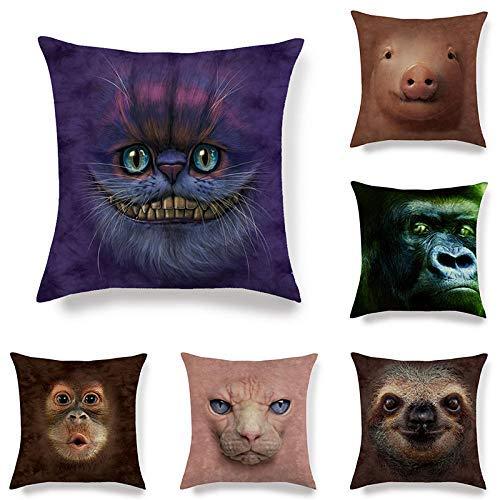 ZLXIONG Funda de cojín de lino de 6 piezas de almohada de animales de la cara del hogar decorativa funda de almohada de 45 x 45 cm