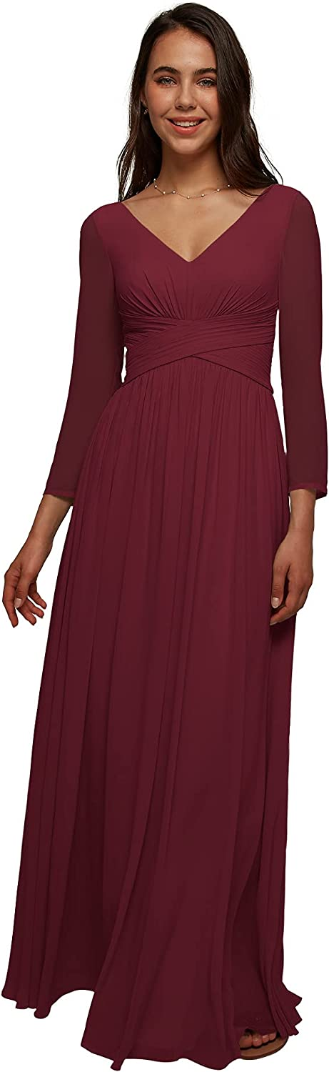 AW BRIDAL V-Neck Chiffon Long Sleeve Bridesmaid Dresses for Women Party Wedding Formal Mother Bride Dress