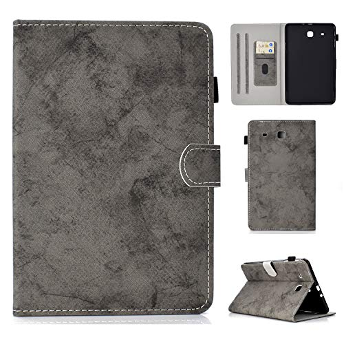 Galaxy Tab E 9.6 SM-T560 Folio Case - MonsDirect Denim Flip Slim Fit Protective Leather Wallet Case Cover Compatible with Samsung Tab E 9.6-Inch Tablet(NOT for SM-T561/SM-T560 NU),Gray