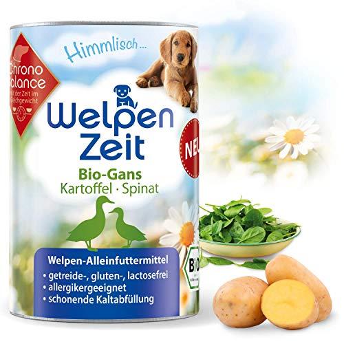 ChronoBalance® Bio-Nassfutter für Welpen, Bio-Rind, Bio-Gans, getreidefrei, glutenfrei, lactosefrei und allergikergeeignet, hoher Fleisch- und Proteinanteil, Alleinfutter, in Deutschland hergestellt