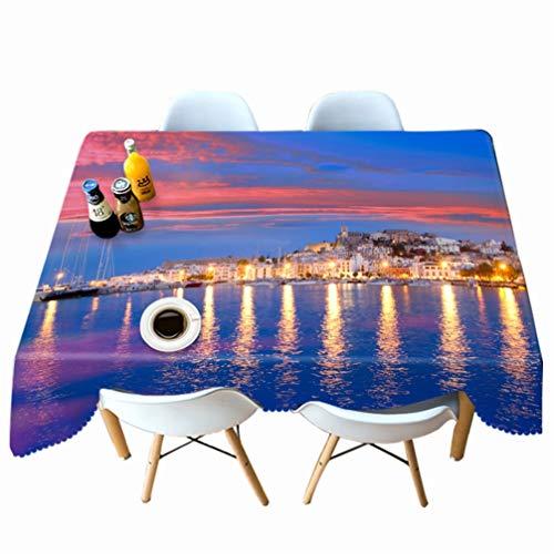 AMON LL Waterdichte Tafelkleed Oilproof Cover, Nachtzicht van Ibiza Island Foto Rechthoek Bureau Doek Decor voor Feest Kerstmis