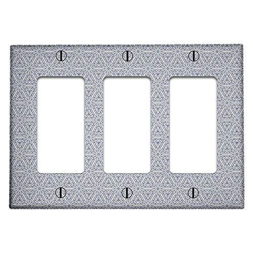Triple 3 Gang Rocker (Decora/GFCI Device) Decorative Switch Wall Plate Cover (Geometric Floral Lace Style Pattern)