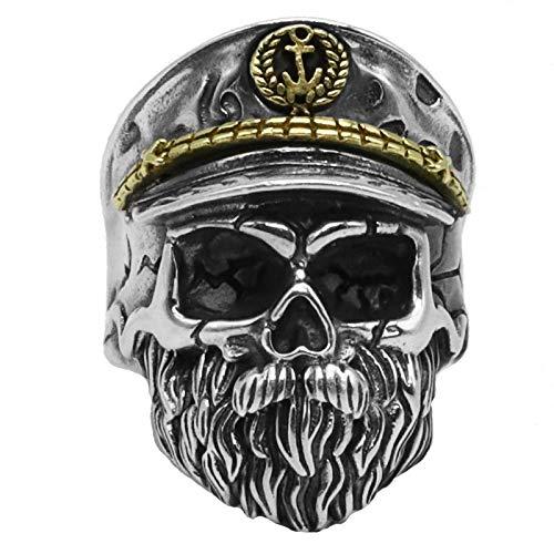 WONS Plata de Ley S925 Anillo Segunda Guerra Mundial Anillo Viejo Capitán Anillo de Los Hombres Moda/Plata/Adjustable
