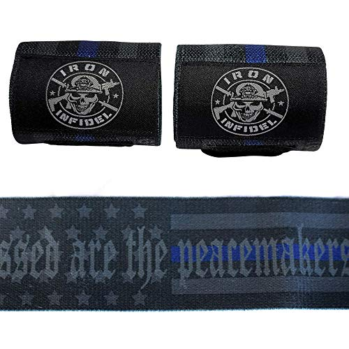 """Iron Infidel Weightlifting Wrist Wraps - 24"""" Extra Stiff Heavy Duty, Wrist Support for Gym Workouts, Crossfit, Weights, Powerlifting, Fitness, Exercise, Olympic Lifts, Bench Press (Thin Blue Line)"""