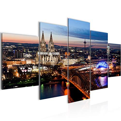 Runa Art Bilder Köln Wandbild 200 x 100 cm Vlies - Leinwand Bild XXL Format Wandbilder Wohnzimmer Wohnung Deko Kunstdrucke Blau 5 Teilig - Made in Germany - Fertig Zum Aufhängen 601551a