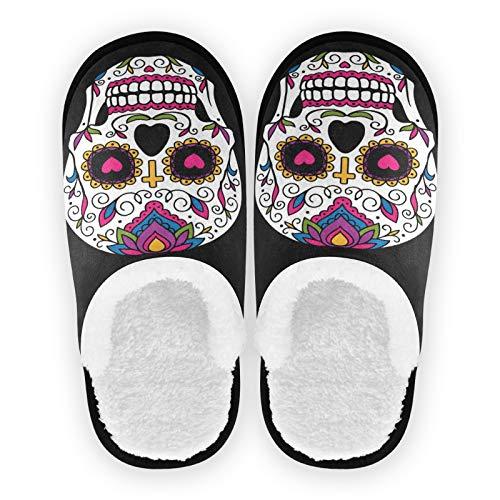 Mnsruu Pantoufles en coton antidérapant pour Halloween, motif tête de mort mexicaine, noir, pour la maison, l'hôtel, le spa, la chambre à coucher, les voyages, M pour homme et femme
