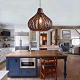 14 inches Chandelier Bamboo Pendant Light Wicker Lamp Shade Ceiling Light Fixtures Rattan Bamboo Lamp Shade Hanging Light Kitched Island Lighting Lamp Outdoor Indoor Light,Warm Light LED Bulb Include
