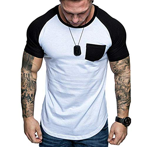 AKARMY Men's Muscle Short Sleeve T-Shirt Hip Hop Hipster Gym Tee Workout Shirts Longline Drop Tail Cut Crewneck T-Shirt 9011 White&Black M