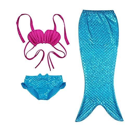 Bañador de Niña 3 Piezas Bikini Traje de Baño Crop Top de Concha con Cuello Halter + Braga + Cola de Sirena Ropa de Baño para Bebé Chica Pequeña (Azul, 3-4 Años)
