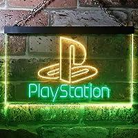 Playstation Game Room Kid LED看板 ネオンサイン バーライト 電飾 ビールバー 広告用標識 グリーン+イエロー W60cm x H40cm