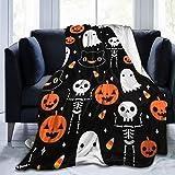 customgogo Halloween Pumpkin Blanket Flannel 3D Printed Soft Warm Throw Blanket Warm, Home, Bed,Sofa Blanket.