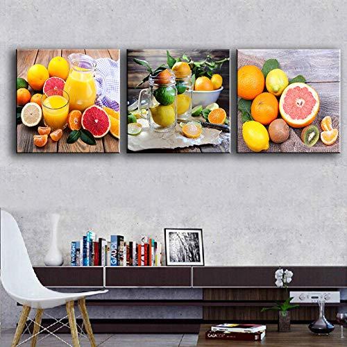 Wenjing Moderne canvas kunst 3 stuks fruit schilderijen bar keuken kamerdecoratie sap wandafbeeldingen voor eetkamer posters en afdrukken 30 x 30 cm cm x 3 stuks geen lijst