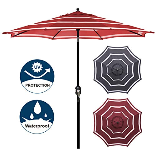 Blissun 9' Outdoor Aluminum Patio Umbrella, Market Striped Umbrella with Push Button Tilt and Crank (Red & White)