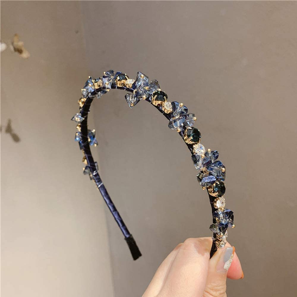 RANRAN Women Rhinestone Hair Hoop,Crystal Headband,Elegant Bride Hairband,Banquet Headdress(Blue)
