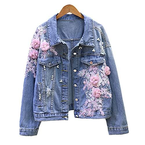 Primavera Y Otoño Mujer Bordado Flor Agujero Chaqueta Corta De Mezclilla Mujer Suelta Chaqueta Informal Abrigos Pink XL