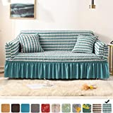 Fluffy Cat Striped Sofa Cover, Stretch Sofa Slipcovers for 3 Cushion Couch,Country Style Couch Cover with 2 Free Pillowcases for Living Room (Seersucker-Blue, Sofa-3 Seater)