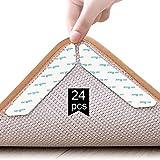 Rug Gripper, 24 piezas de agarre de alfombra antideslizante de doble cara, adhesivo de alfombra lavable y reutilizable antideslizante para alfombras de pisos de madera, alfombras, tapetes y tapetes