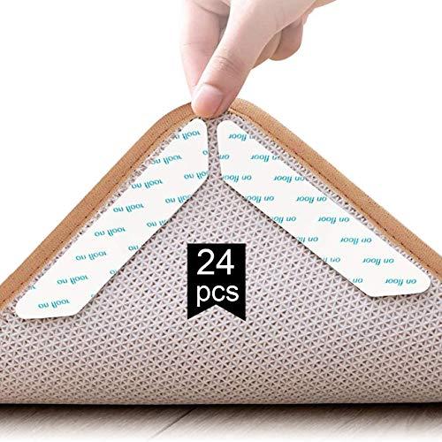 Adispotg Teppichgreifer Antirutschmatte, 24 Stück doppelseitige Anti-Curling Rug Gripper, waschbarer und wiederverwendbarer, Rutschfester Teppichgriff für Hartholzböden, Teppiche und Matten