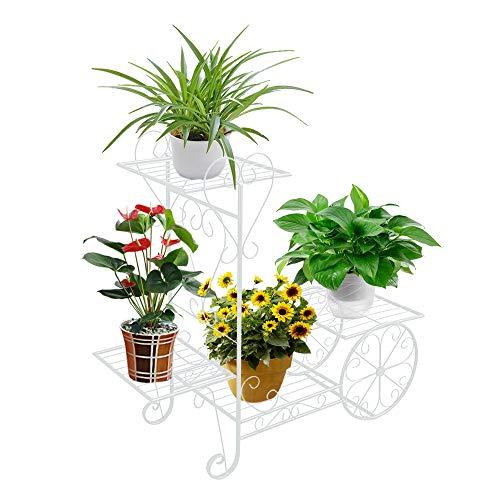 ZZBIQS Carro de jardín con soporte para plantas, soporte para plantas, soporte de hierro con 4 estantes para interior y exterior, hogar, balcón (color blanco)