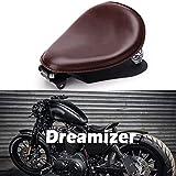 Dreamizer Braun Motorrad Bobber Sitz, Motorrad Solo Sitz Mit Grundplatte der Federhalterung für Sportster XL883 1200 48 Chopper Custom