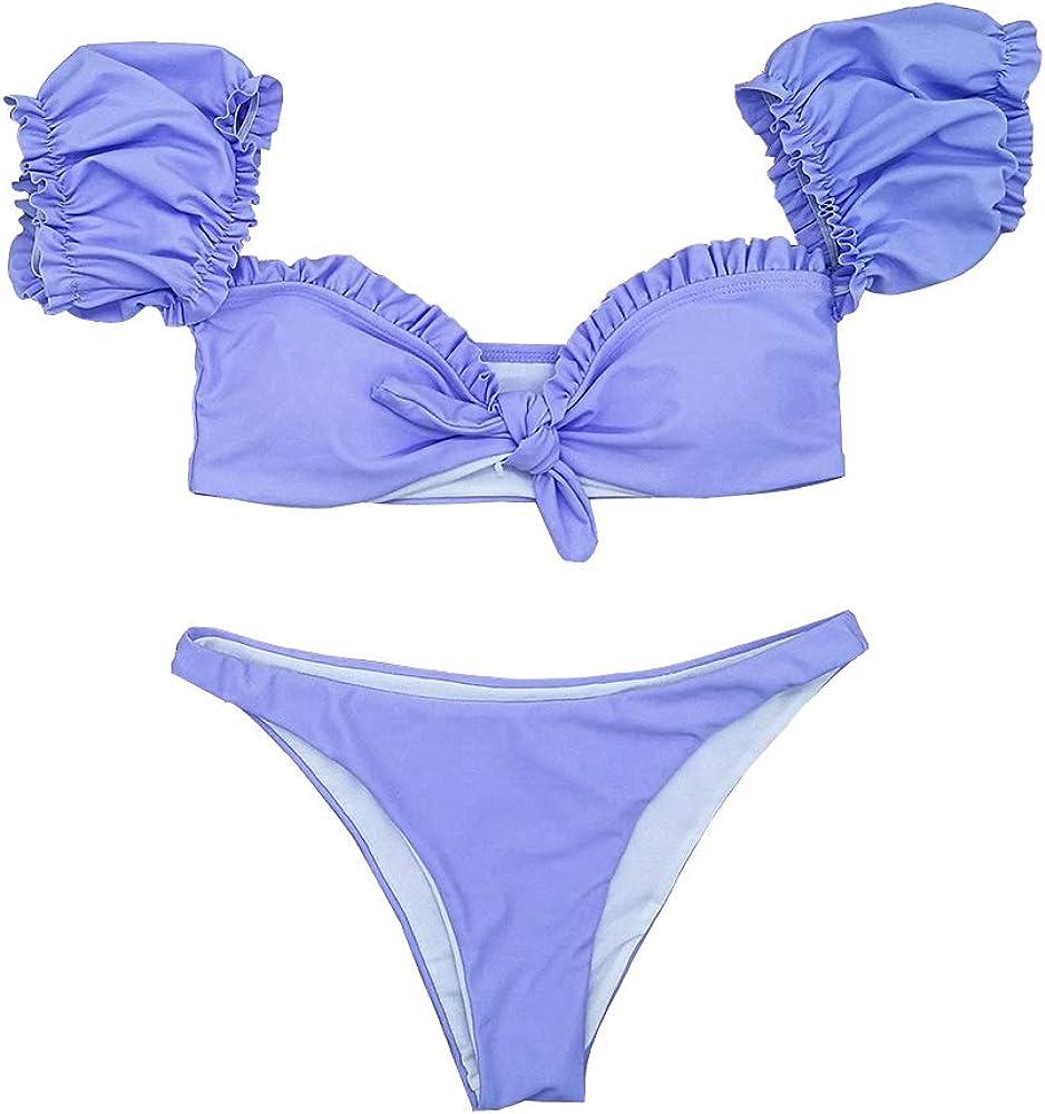YOMORIO Sexy Thong Bikini Swimsuit Vintage Tankini Ruffle Bathingsuit for Women