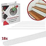 Lieburg 18x Antirutsch Streifen für Treppen - transparent, selbstklebend, soft gummiert - extremer Rutschschutz für rutschige Treppenstufen - leicht anzubringen