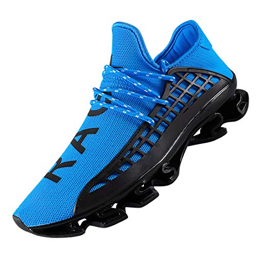 DUORO Men's Running Shoes Women's Casual Sneakers Breathable Mesh Slip on Blade Athletic Lightweight Tennis Sports Shoe for Men (6, Blue)