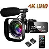 SAULEOO Video Camera Camcorder 4K 30MP Digital Camcorder Camera with Microphone Ultra HD Vlogging Camera with Remote Control,3 in Touch Screen