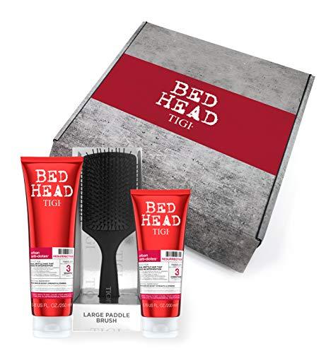 TIGI Bed Head - Champú y acondicionador para cabello dañado + cepillo para el pelo