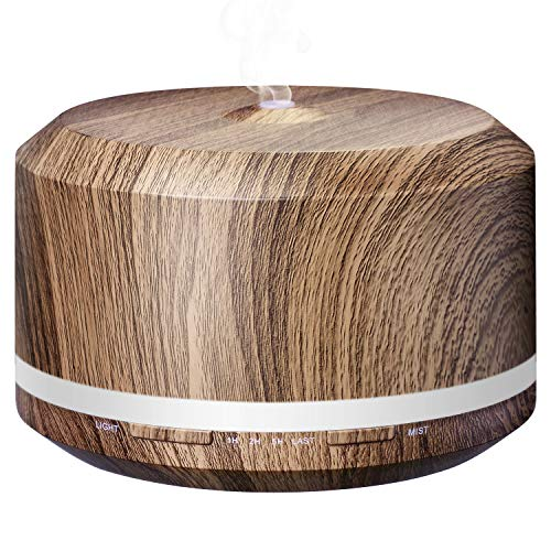 Essential Oil Diffuser 450ml, Wood Grain Aromatherapy Diffusers and Air Humidifiers Set for Large Room - LUSCREAL Birthday Gift Idea