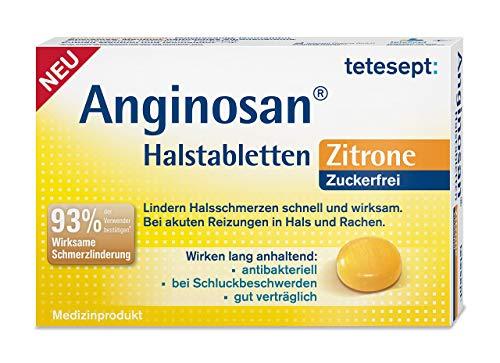 tetesept Anginosan Halstabletten Zitrone - zuckerfrei – Antibakterielle Halsschmerztabletten gegen akute Reizungen in Hals & Rachen – 5 x 20 Stück