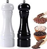 Premium Salz- und PfefferMühle Set, Manuelle Salzmühle Holz, mit Verstellbarem KeramikMahlwerk, Refillable Gewürzmühle und Kräutermühle Groß, Salz und Pfeffer Streuer, (Schwarz- Weiß)