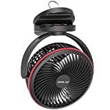 10000mAh Rechargeable Portable Clip Fan, 7-Inch Camping Fan with Hanging Hook, Battery Operated Fan, 40 Hours Work Time, Timer, 4 Speeds for Strollor, Desk, Tent, Table, Treadmill, Golf, Outdoor