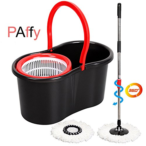 PAffy 18/8 Steel Magic Spin Mop (Red and Black)