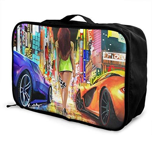 Fashion Racing Girl Travel Lage Duffel Bag Lightweight Suitcase Portable Bags for Women Men Kids Waterproof Large Bapa Caity