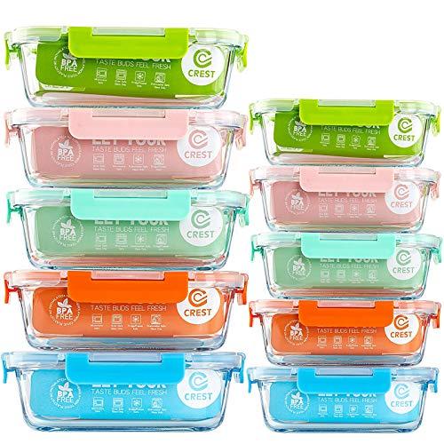 Frischhaltedosen aus Glas (ein Set von fünf Farben), mit Deckel für die Küche, den Heimgebrauch – luftdichte Lunchboxen aus Glas