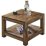 Wohnling Couchtisch Massiv-Holz Sheesham 60 x 60 cm Wohnzimmer-Tisch Design Landhaus-Stil...