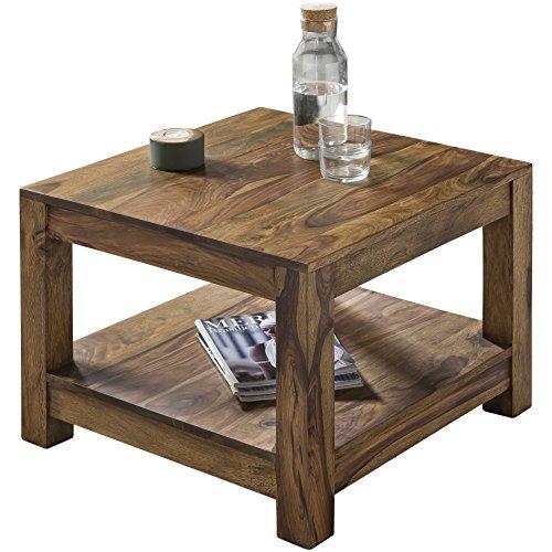 Wohnling salontafel massief hout Sheesham 60 x 60 cm woonkamertafel design landhuisstijl bijzettafel natuurproduct woonkamermeubels unicaat modern massief houten meubel rechthoekig donkerbruin