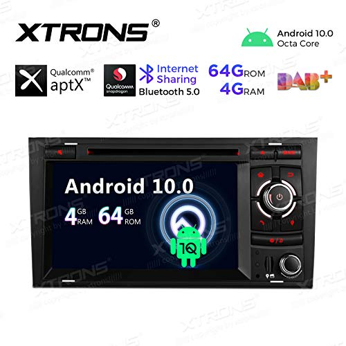 Price comparison product image XTRONS Car Stereo DVD Player 7 Inch Touch Screen Android 10 Double Din GPS Navigation Octa Core 4G RAM 64G ROM Supports Android Auto OBD DVR Backup Camera Tire Pressure Monitoring for Audi A4 S4 RS4