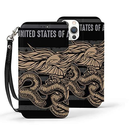 Ip12pro Max-6.7 Funda de piel con tapa para teléfono móvil, a prueba de golpes, bandera de serpiente de águila EE.UU. bandera de América protectora con ranura para tarjeta Kickstand