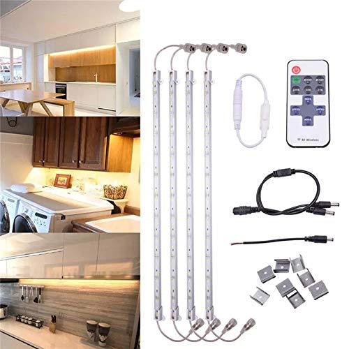 LED Light Bar, adatto per la casa Cucina TV Party Impermeabile 36 LED Light Strip Rigida lampada del Governo + telecomando DC12V 4 X 5630 SMD 50CM (Color : Warm white)