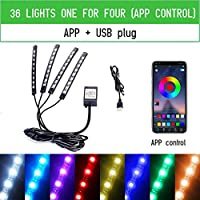 丈夫で安全な複数のUSESCAR装飾ライト USBワイヤレスリモートコントロールミュージック複数モードの自動車装飾付きLEDカーインテリアの雰囲気フットライト周囲ランプ (Emitting Color : 36LED USB APP)