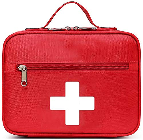 Bolsa de primeiros socorros Gatycallaty com tratamento de emergência vazio Bolsas médicas com vários bolsos para casa, escola, escritório, carro, viagem, trilha, creche, Vermelho