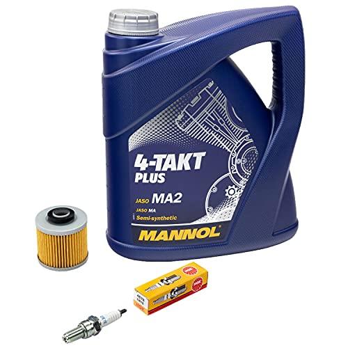 Wartungspaket Öl 4L + Ölfilter + Zündkerze für Yamaha MT-03 660 XT 660 XT660 RM02 DM01 Baujahr 2004-2015