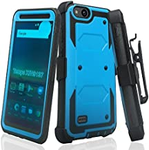 COVERLAB Rugged Holster Case Compatible for ZTE ZFive C,ZFive G,N9137,Z557BL,Z558VL,Tempo Go,Tempo X,Blade Vantage,Avid 4 [Built in Screen Protector] [Belt Clip] Kickstand - Blue