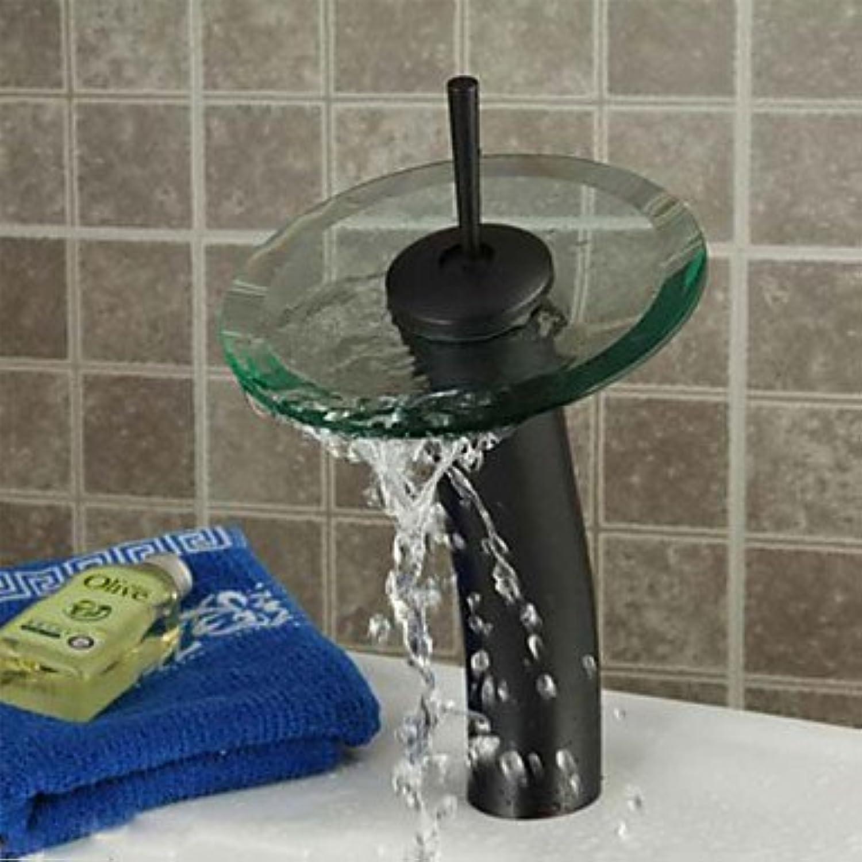 Miaoge Orb rund massiv Messing Wasserfall Becken Wasserhahn Glas spout-schwarz + Transparent Grün