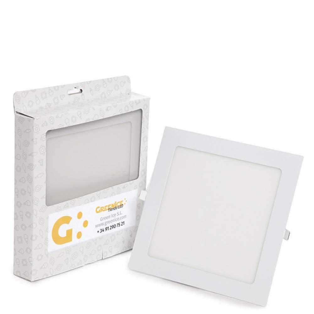 Greenice | Placa LED Cuadrada Ecoline 225Mm 18W 1350Lm 30.000H Estuche Personalizado | Blanco Cálido: Amazon.es: Iluminación